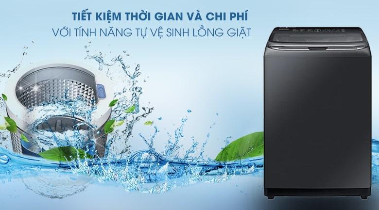 Máy giặt Samsung WA22R8870GV/SV có thể loại bỏ cặn bột giặt, mảng bám bụi bẩn hiệu quả