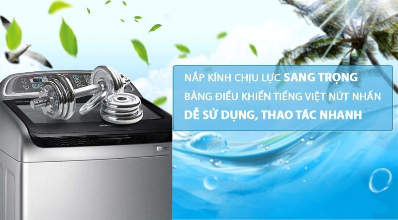 Máy giặt Samsung WA85T5160BY/SV sở hữu tiếng Việt, kính chịu lực và kiểu dáng sang trọng