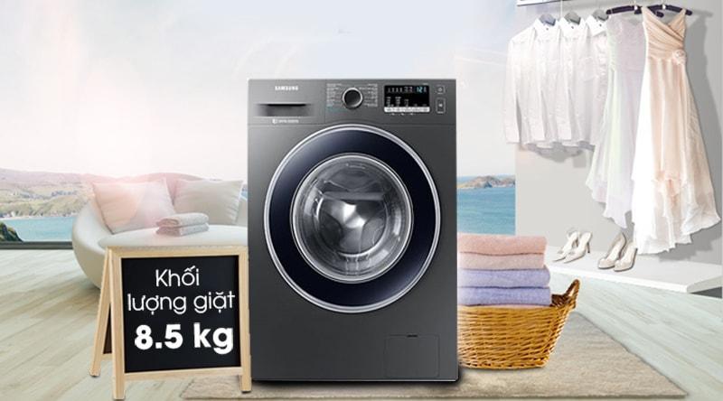 Máy giặt Samsung WW85J42G0BX/SV sở hữu khối lượng giặt 8.5 kg