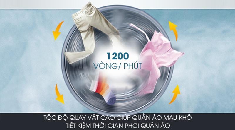 Tốc độ vắt nhanh 1200 vòng/phút rút ngắn thời gian phơi khô quần áo