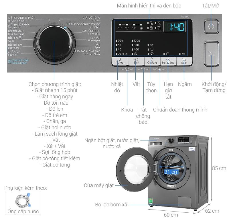 Tổng quan máy giặt Máy giặt Samsung WW95J42G0BX/SV