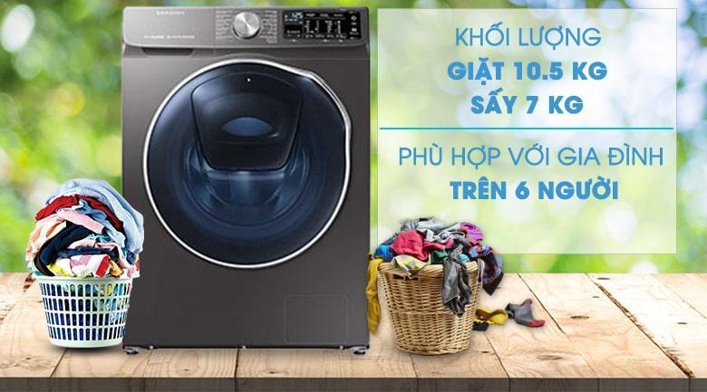 Máy giặt sấy Samsung AddWash WD10N64FR2X/SV là mẫu máy giặt tích hợp chức năng sấy tiện lợi