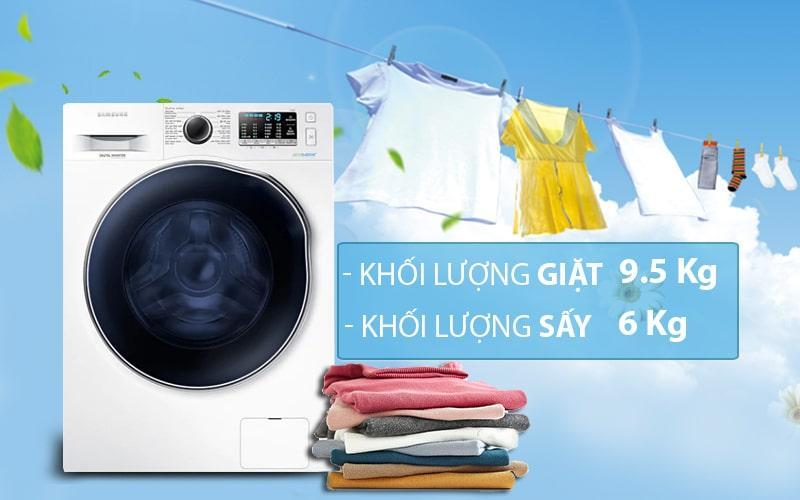 Máy giặt sấy Samsung WD95J5410AW/SV vô cùng tiện lợi với khả năng giặt và sấy tích hợp