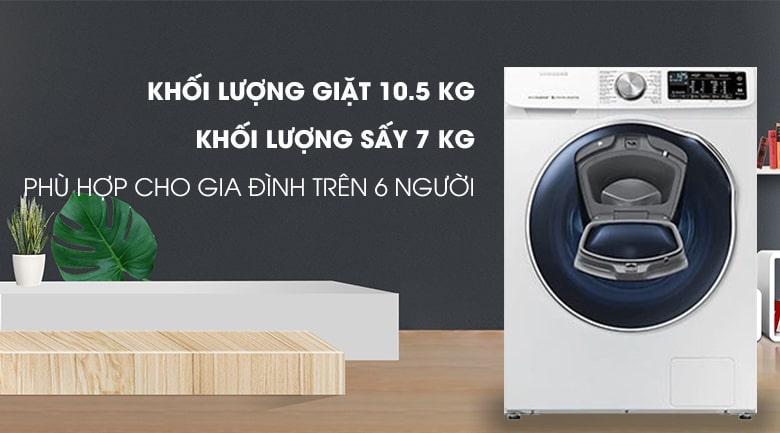 Máy giặt sấy Samsung AddWash WD10N64FR2W/SV là mẫu máy giặt tích hợp chức năng sấy tiện lợi