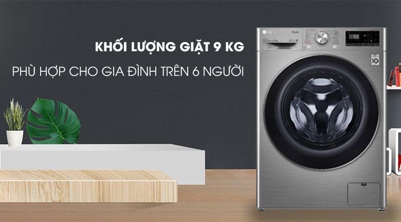 khối lượng giặt 9kg phù hợp cho gia đình trên 6 người