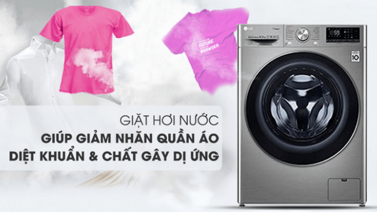 Máy giặt LG FV1450S3V giá rẻdiệt khuẩn, giảm nhăn quần áo với công nghệ giặt hơi Steam