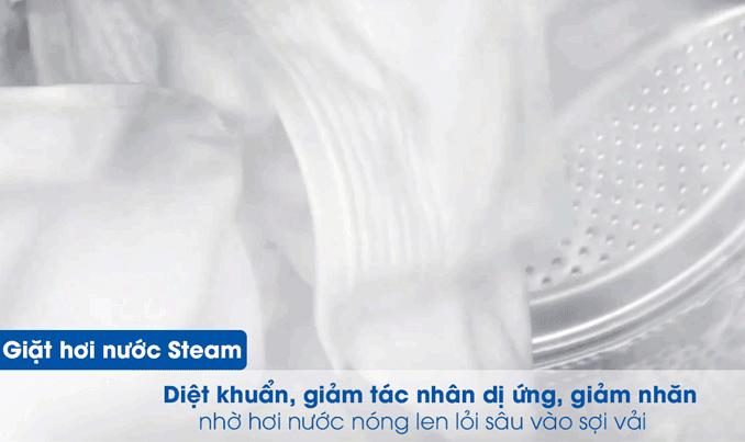 giặt hơi nước Steam diệt khuẩn, giảm tác nhân dị ứng, giảm nhăn nhờ hơi nước nóng len lỏi sâu vào sợi vải