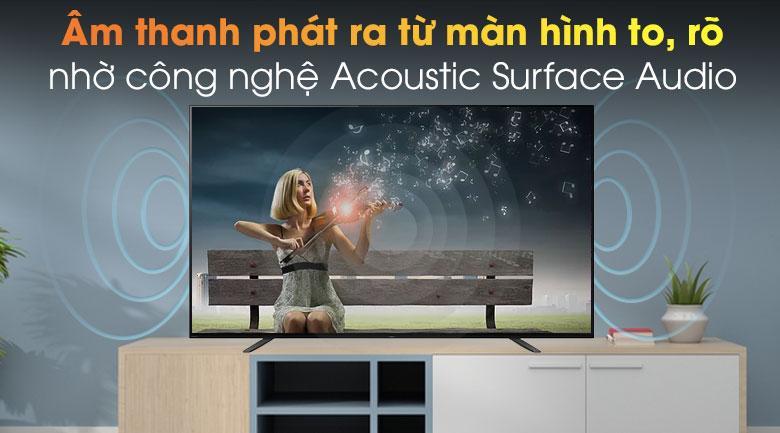 55A8H âm thanh phát ra từ màn hình to, rõ nhờ công nghệ Acoustic Surface Audio