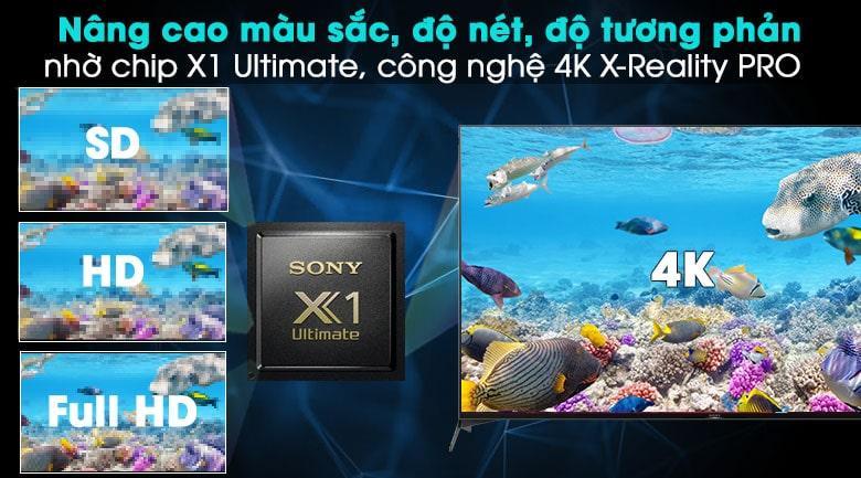 55X9500H nâng cao màu sắc, độ nét, độ tương phản nhờ chip X1 Ultimate, công nghệ 4K X-reality PRO