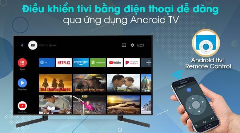 49X9500H điều khiển tivi bằng điện thoại dễ dàng qua ứng dụng android TV