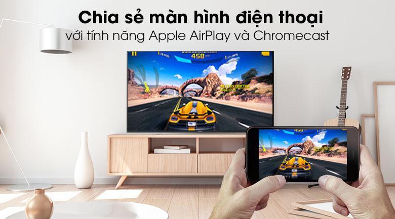chiếu màn hình điện thoại lên tivi với tính năng Apple AirPlay và Chromecast