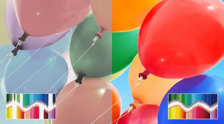 43X8500H/S hiển thị dải màu sắc đa dạng hơn