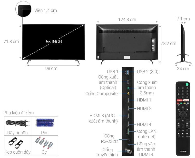 55X8050H thiết kế chi tiết của tivi