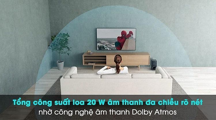 tổng công suất loa 20w âm thanh đa chiều rõ nét nhờ công nghệ âm thanh Dolby Atmos