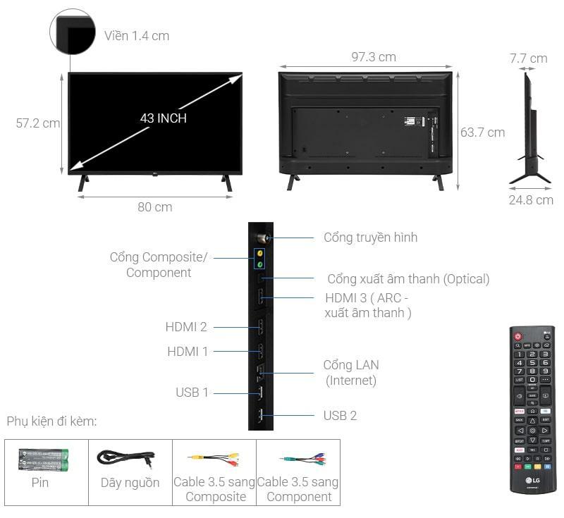 tivi LG 43UN7000 thiết kế chi tiết