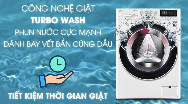 công nghệ giặt Turbo Wash phun nước cực mạnh đánh bay vết bẩn cứng đầu tiết kiệm thời gian giặt