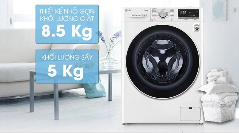 FV1408G4W thiết kế nhỏ gọn với khối lượng giặt 8.5 kg và khối lượng sấy 5 kg
