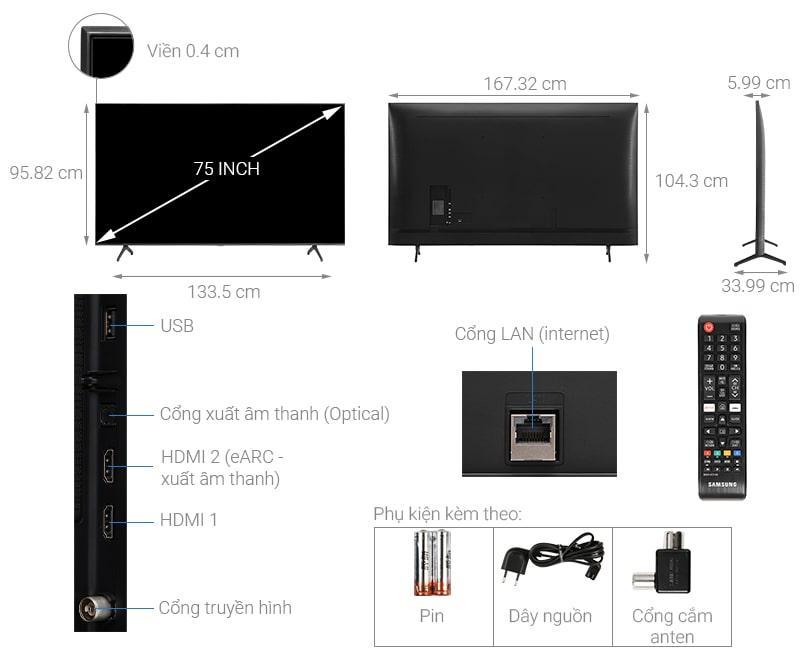 75TU7000 thiết kế chi tiết của sản phẩm