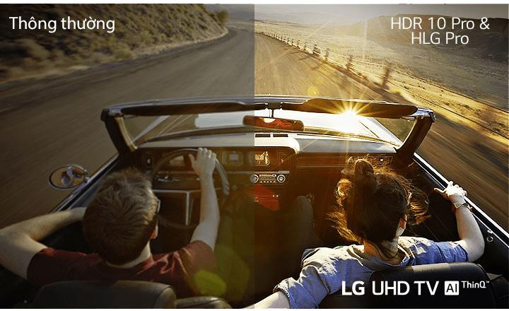 49UN7300 thưởng thức mọi nội dung với độ nét cao, chân thực với HDR 10 Pro & HLG Pro