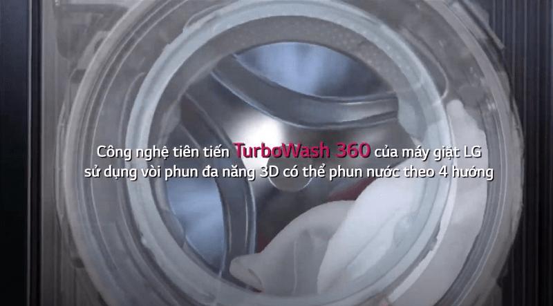 công nghệ tiên tiền TurboWash 360 của máy giặt LG sử dụng vòi phun đa năng 3D có thể phun nước theo 4 hướng