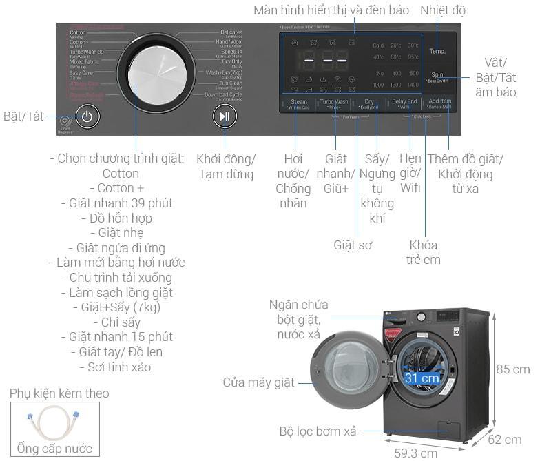 máy giặt LG FV1450H2B thiết kế chi tiết