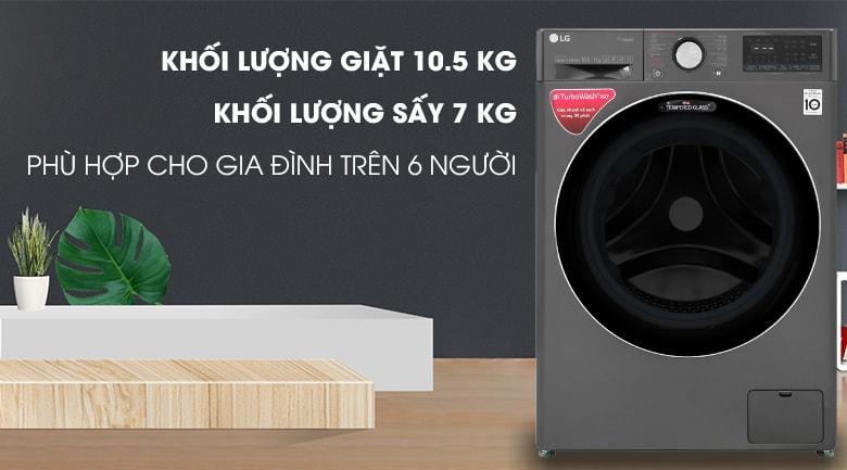 FV1450H2B khối lượng giặt 10.5 kg, khối lượng sấy 7kg phù hợp cho gia đình trên 6 người
