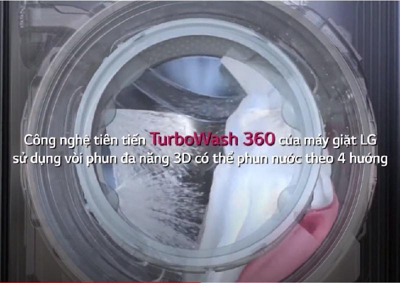 máy giặt FV1450S2B có công nghệ tiên tiến TurboWash 360 của máy giặt LG sử dụng vòi phun đa năng 3D