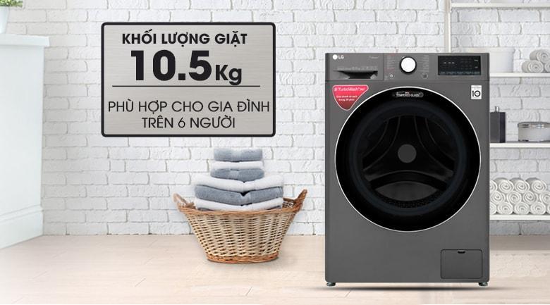 khối lượng giặt 10.5 kg phù hợp cho gia đình trên 6 người