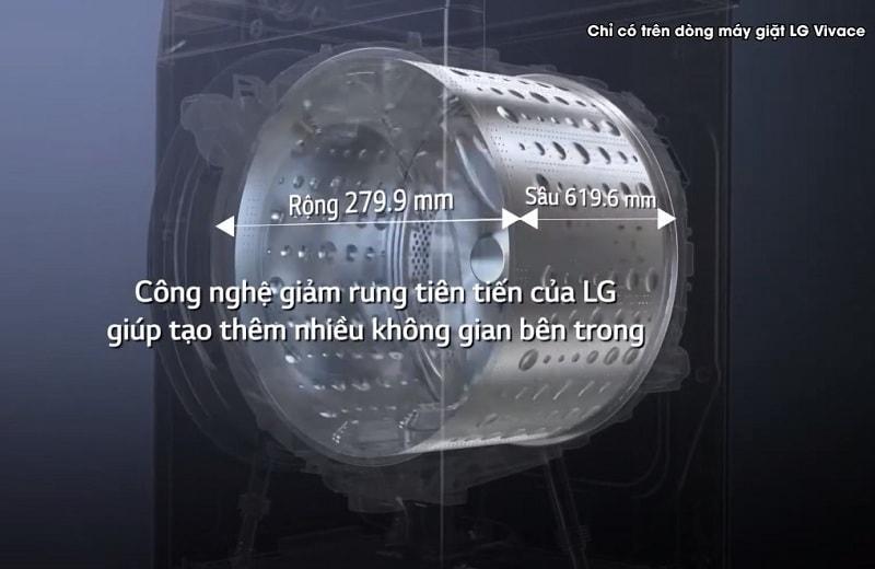 FV1450S2B công nghệ giảm rung tiên tiến của LG giúp tạo thêm nhiều không gian bên trong
