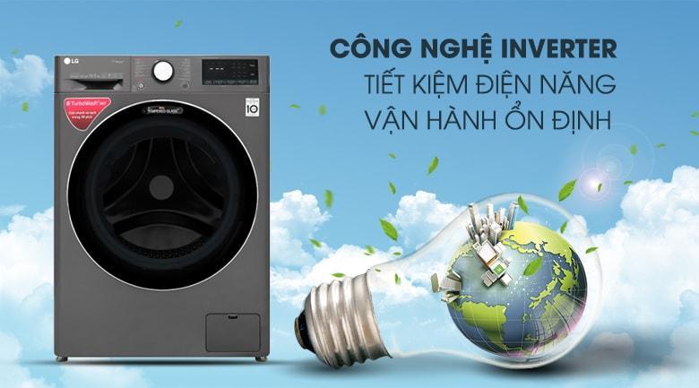 máy giặt LG FV1450S2B công nghệ inverter tiết kiệm điện năng vận hành ổn định