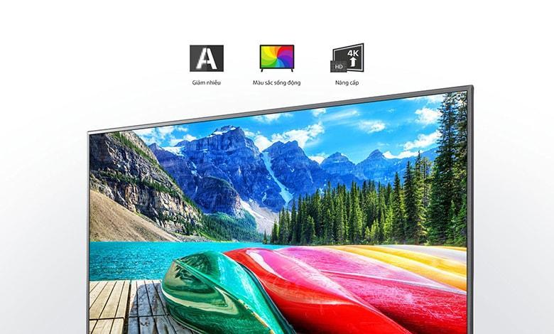 43UN7350 bộ lõi tứ 4K cho giảm nhiễu, màu sắc sống động, nâng cấp hình ảnh lên gần chuẩn 4K