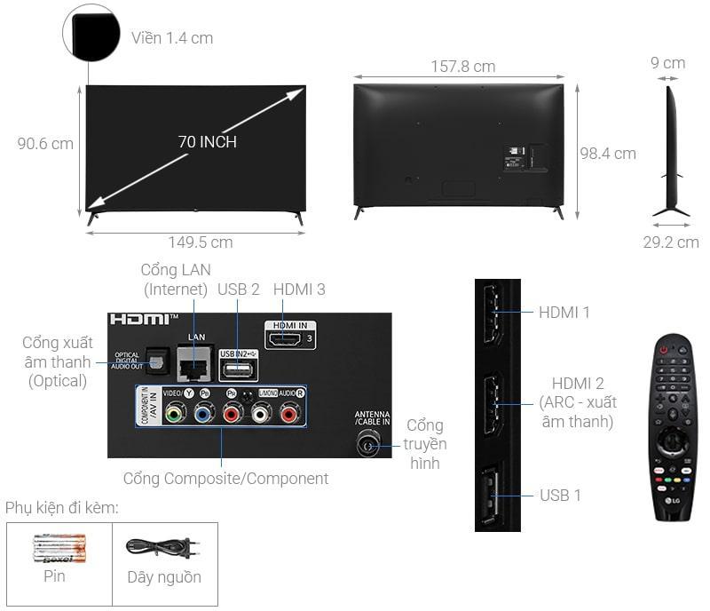 tivi LG 70UN7300 thiết kế chi tiết