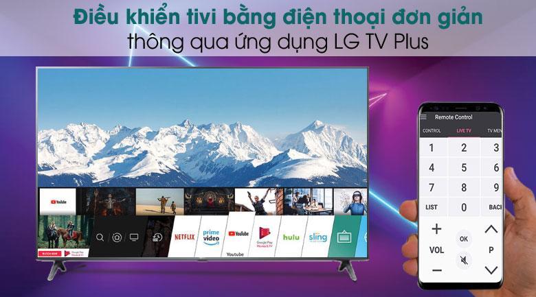 điều khiển tivi 70UN7300 bằng điện thoại đơn giản thông qua ứng dụng LG TV Plus