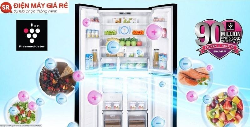 SJ-FXP480VG-BK có công nghệ Plasmacluster bảo vệ tủ lạnh tối ưu
