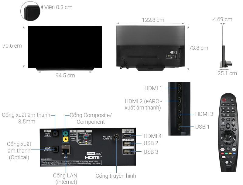 tivi LG OLED 55CX có thiết kế chi tiết