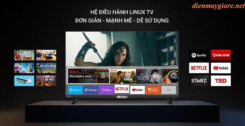 32HX6200 có hệ điều hành Linux TV đơn giản, mạnh mẽ và dễ sử dụng