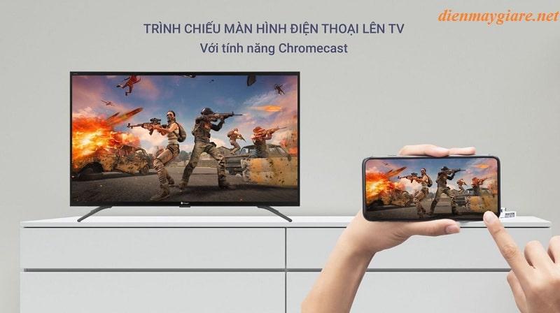 55UG6300 trình chiếu màn hình điện thoại lên tivi với tính năng Chromecast