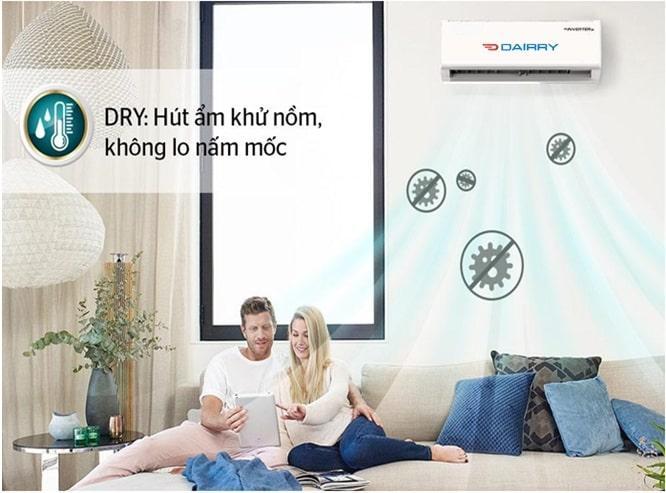 i-DR24LKH có chế độ hút ẩm khử nồm, không lo nấm mốc