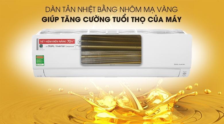 Điều hoà V18API1 được cải thiện đáng kểtuổi thọ máy nhờ dàn tản nhiệt mạ vàng