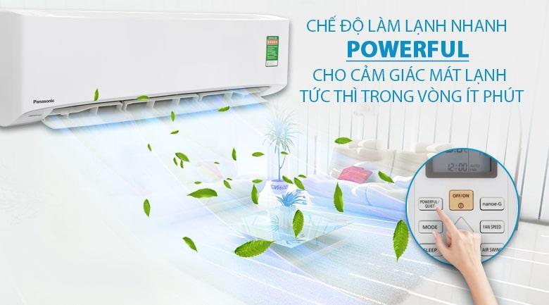 Điều hoà CU/CS-PU18UKH-8 mang đến khả năng lạnh nhanh chóng với chế độ Powerful tiên tiến