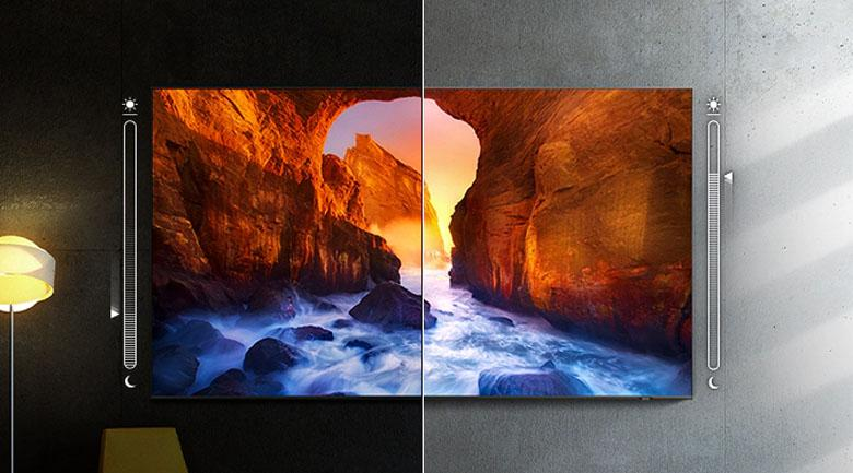 Tivi khung tranh QA55LS03A có công nghệAdaptive Picture sẽ tự động điều chỉnh màu sắc phù hợp với điều kiện ánh sáng phòng