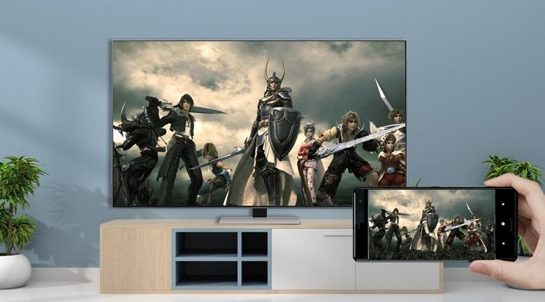 Tivi QA 55QN85A với tính năng AirPlay 2 và Tap View có thể chiếu điện thoại lên TV