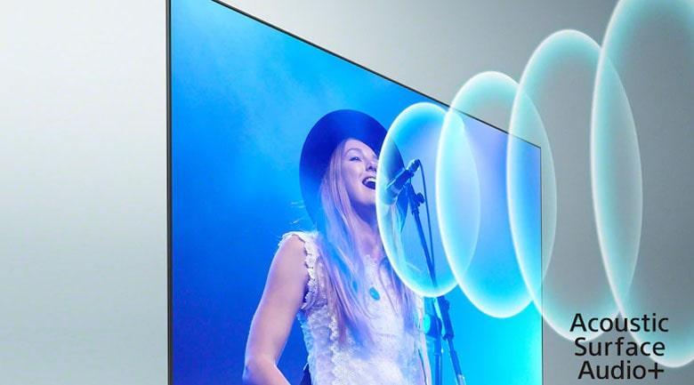 Tivi Sony XR 65A90J trang bị công nghệ Acoustics Surface Audio+, công suất loa đến 60W giúp bạn tận hưởng âm thanh vòm trung thực