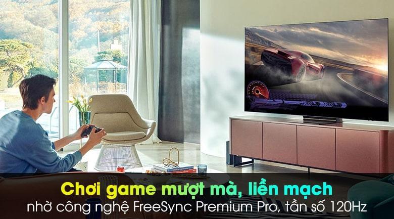 Công nghệ FreeSync Premium Pro trênTivi Neo QA75QN900A giúp chơi game mượt mà tuyệt đối