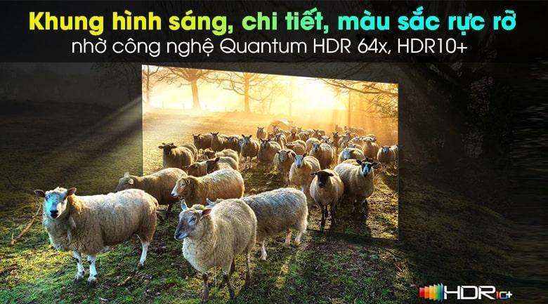 Tivi Samsung QA75QN900A giúp tái hiện màu sắc rực rỡ, dải màu rộng hơn nhờ vào công nghệ Quantum HDR 64x