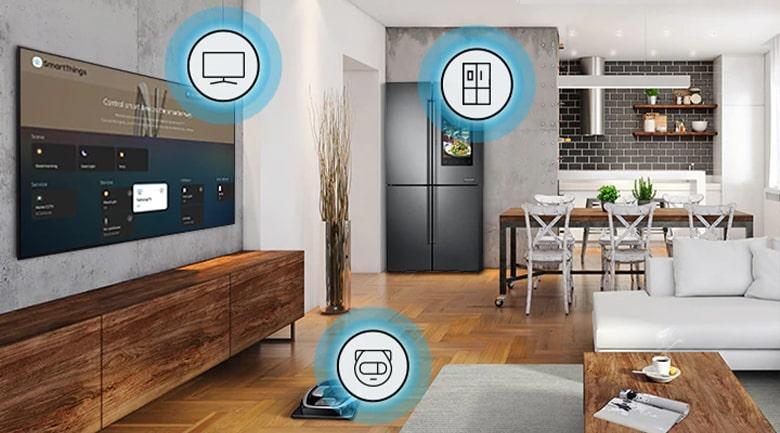 Tivi Samsung QA50Q80ADễ dàng điều khiển tivi bằng điện thoại qua ứng dụngSmartThings