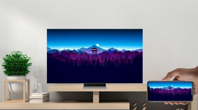Tivi Neo QA 50QN90A giúp bạn thực hiện việc chiếu màn hình điện thoại lên tivi rất dễ dàng