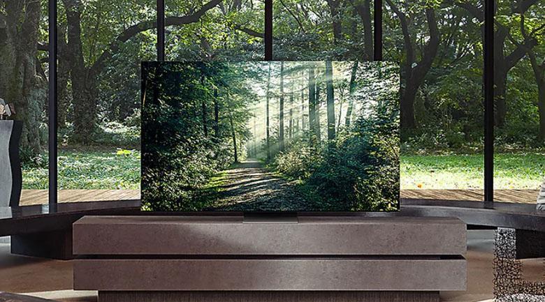 Tivi Samsung QA 55Q80A với thiết kế tràn viền, thanh mảnh đẹp mắt, rất ấn tượng