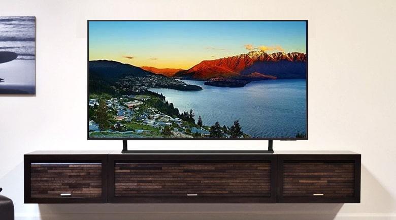 Tivi Samsung UA 43AU9000 có kích cỡ nhỏ gọn, thiết kế tinh xảo, mẫu mới 2021