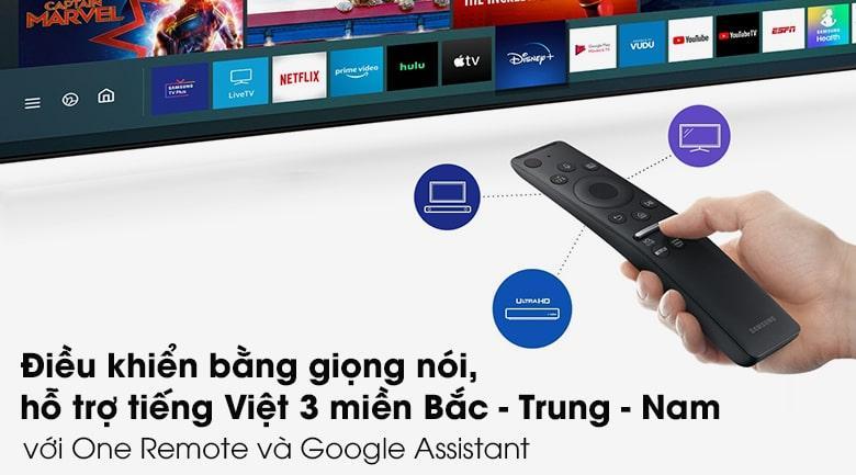 Tivi Samsung UA 43AU9000 được ứng dụngtrợ lý ảo Google Assistant trên One Remote